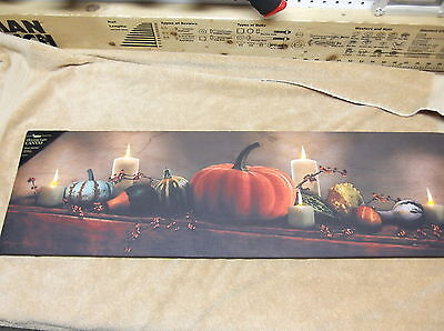 Harvest Display Pumpkins Gourd Fall Mantel Lighted Canvas Wall Decor Sign New](Fall Mantel Decor)