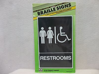 Hy-ko Products- Db-5- Braille Restroom Sign- Black Wwhite Border And Lettering