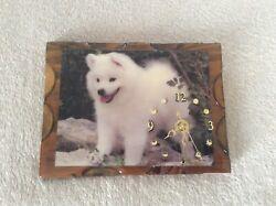 American Eskimo Pomeranian Puppy Dog Laminated Wood Wall Clock Vintage