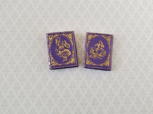 Dollhouse Miniature Books x2 Alice in Wonderland Set Lewis Carroll 1:12 Scale
