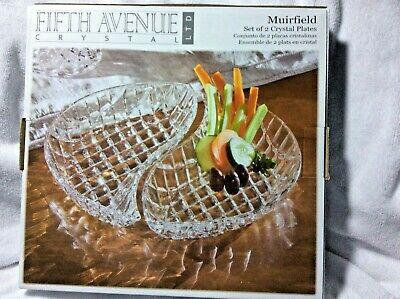 Fifth Avenue Crystal Muirfield Set Of 2 Crystal Plates New  Fifth Avenue Plate Set