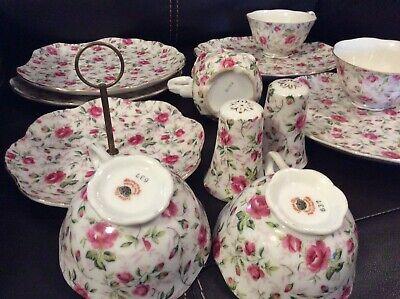 Vintage  Lefton China  Pattern Tea Set Hand Painted- China- 12pcs Set