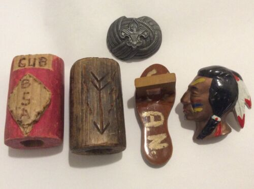 Mixed Lot of Five Vintage BSA Boy Scout Neckerchief Slider