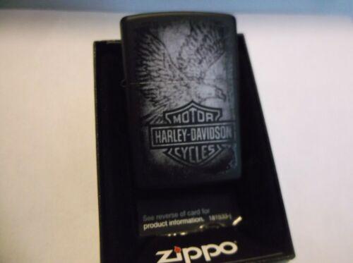 Harley-Davidson Zippo 28485 New Lighter Black Eagle Bar and Shield Black Matte