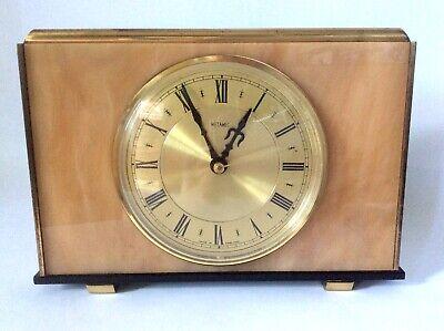 Vintage Metamec Mantel Clock Faux Onyx Marble Brass Kienzle Mechanism Working