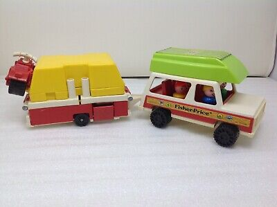Vintage Fisher Price Little People #992  Car/Jeep, Pop up camper.