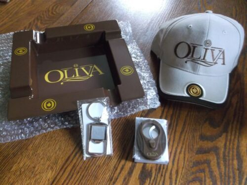 OLIVA CIGAR ASHTRAY CUTTER KEYCHAIN AND HAT BRAND NEW