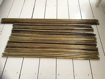 14 VINTAGE ANTIQUE RECLAIMED BRASS STAIR CARPET RODS ACORN FINIALS BEAUTIFUL Antique Stair Rods