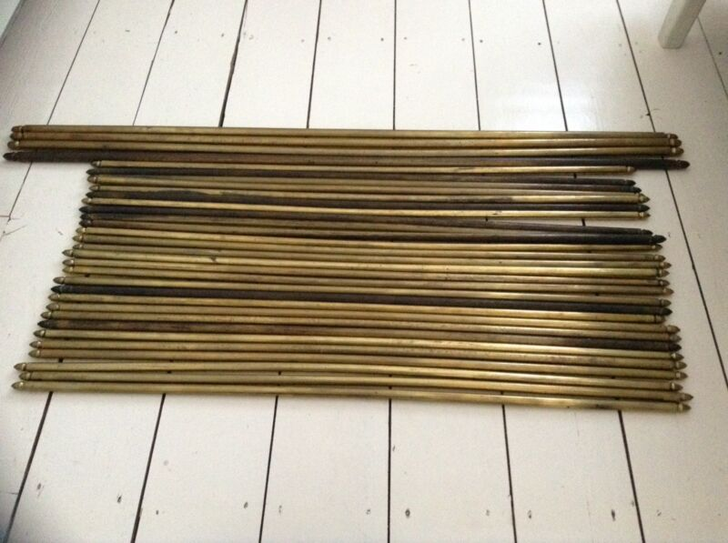 14 VINTAGE ANTIQUE RECLAIMED BRASS STAIR CARPET RODS ACORN FINIALS BEAUTIFUL