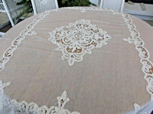 ANTIQUE BEAUTIFUL WHITE TULLE NET BATTENBURG FLORAL FULL SIZE BEDSPREAD