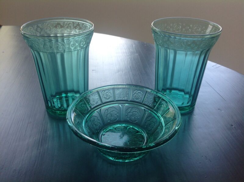 Jeannette Ultramarine Teal Doric And Pansy Tumblers And Berry Bowl