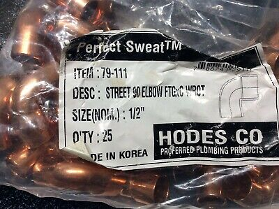 25 Hodes Copper 90 Deg Street Elbow 12 C X Ftg Wrot Fittings New 79-111