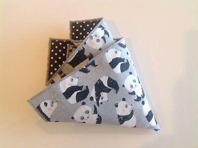 NEW Pocket Square Novelty Panda Bear Black White Polka  Dot Reversible