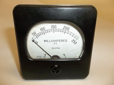 Vintage Weston Ac Milliamperes Meter 0-250 3 X 3 18 Model 476