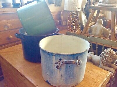 Three Antique Hungarian Enamel Planters Free Delivery