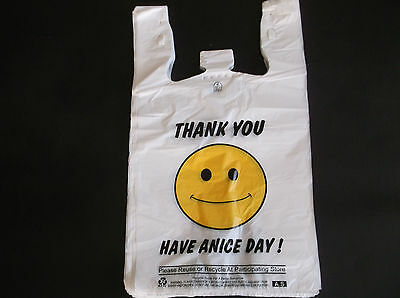 44 Ct Plastic Shopping Bags Happy Face T Shirt Type Grocery 16 Big Size Bags
