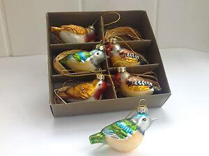 Set 6 Boxed Vintage Retro Style Glass Garden Bird Christmas Decorations Baubles