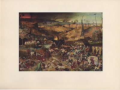 "1954 Vintage Full Color Art Plate ""THE TRIUMPH OF DEATH"" Bruegel Lithograph"
