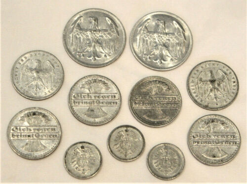 11 FOREIGN COINS ~ GERMANY ~ PRE WWII ~ ALUMINUM ~ PFENNING/MARK ~ EMPIRE/WEIMAR