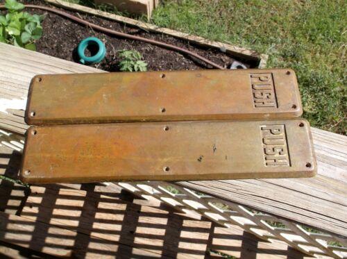 Pair Antique Vintage Cast Brass Finger Push Door Plate Handle Art Deco PUSH