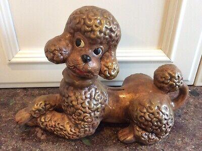 Vtg U.S.A. Pottery Hand Paint Figural Large Golden Brown Curly Poodle Dog - Large Poodle Figure