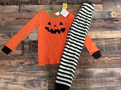 Gymboree Orange Black Halloween Pumpkin Jack O Lantern Boys Pjs NWT Size 8 Boy Black Pjs Pajamas