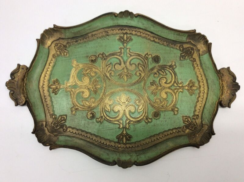 Vintage Wood Florentine Tray Made In Italy By Action O5