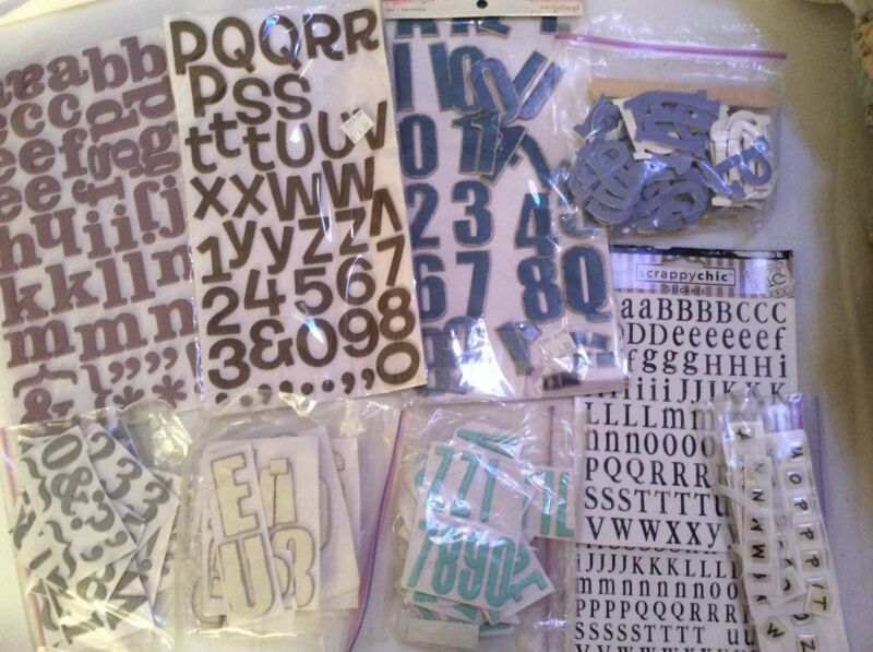 Letters Lot Scrapbooking Black White Blue Brown Large Raised Gray Green Cream