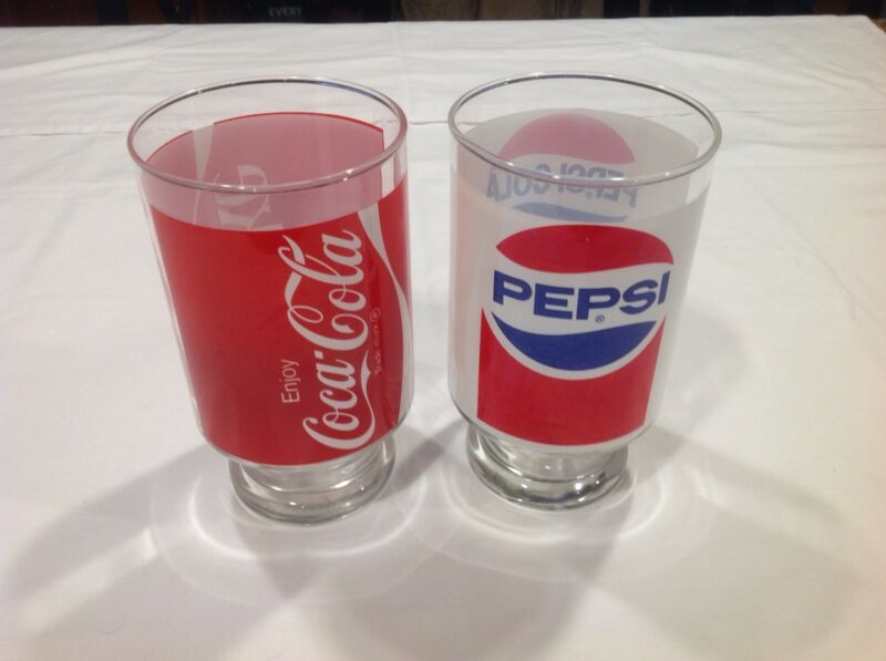 Vintage Coca Cola & Pepsi pedestal glasses