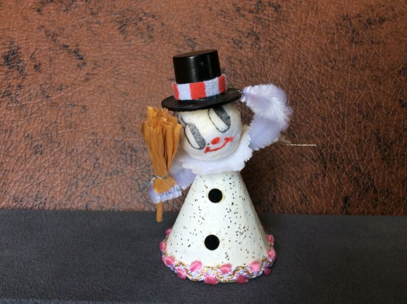 Snowman Vintage Chenille Japan  Top Hat Collar Trim Eyelashes Ornament Chenille