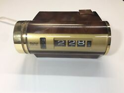Vintage Retro Sankyo Model 412 Flip Roll Alarm Clock Wood Grain