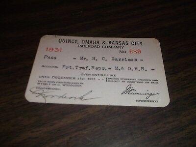 1931 QUINCY OMAHA & KANSAS CITY RAILROAD COMPANY EMPLOYEE PASS #689](Party City Omaha)