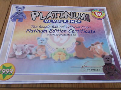 TY Beanie Babies Official Club - Platinum Membership Certificate 1999