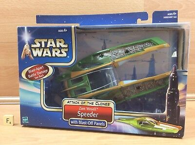 Star Wars Attack Of The Clones Zam Wesell  Speeder New In Sealed Box Hasbro2002