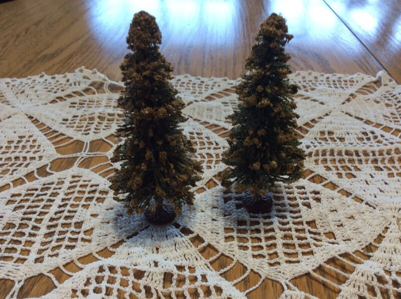 """Vtg Old 1930s German Bottle Brush Christmas Tree Lead Base 4"""" Tall Village Flock"""