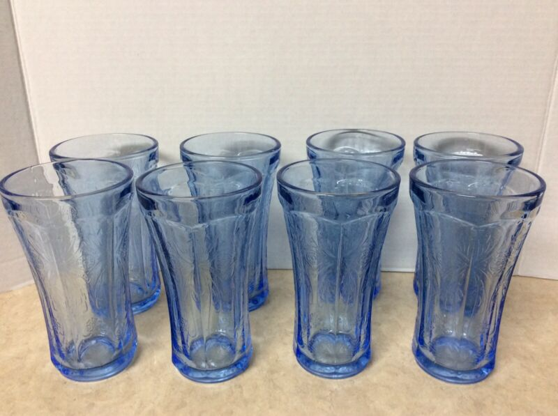 8-Vintage Indiana Madrid Recollection Blue Depression Glass Water Tea Tumblers