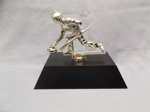 silver curling male trophy thick black wood base