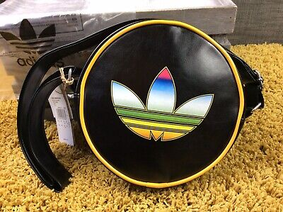 Genuine Adidas Rainbow Trefoil Disco Shoulder Messenger Black Bag Mens Womens
