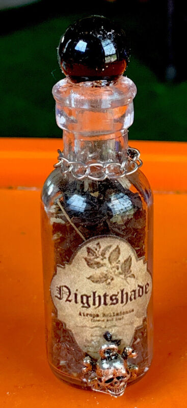Apothecary Dr Wormtongues Nightshade Herb Bottle  Black Ball WICCA OOAK Hallowee
