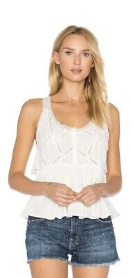 NWT CURRENT/ELLIOTT THE LACE TOP IN STAR WHITE SZ 1 -SMALL -$188