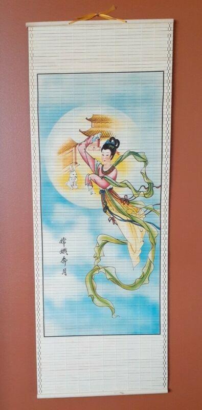 "VIBRANT Bamboo Asian Art Hanging Slatted Wall Scroll FLYING GEISHA 34 x 12.5"""