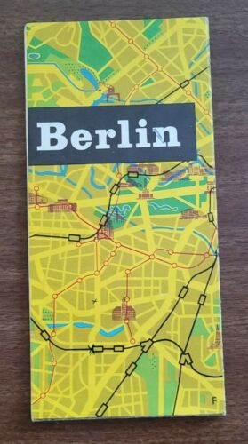BERLIN 1962 Vintage Fold Out City Map Tourist Guide Germany, Roads, Places