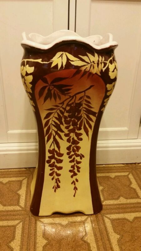 Beautiful Roseville Pottery Umbrella Stand Brown &Yellow Floral READ DESCRIPTION