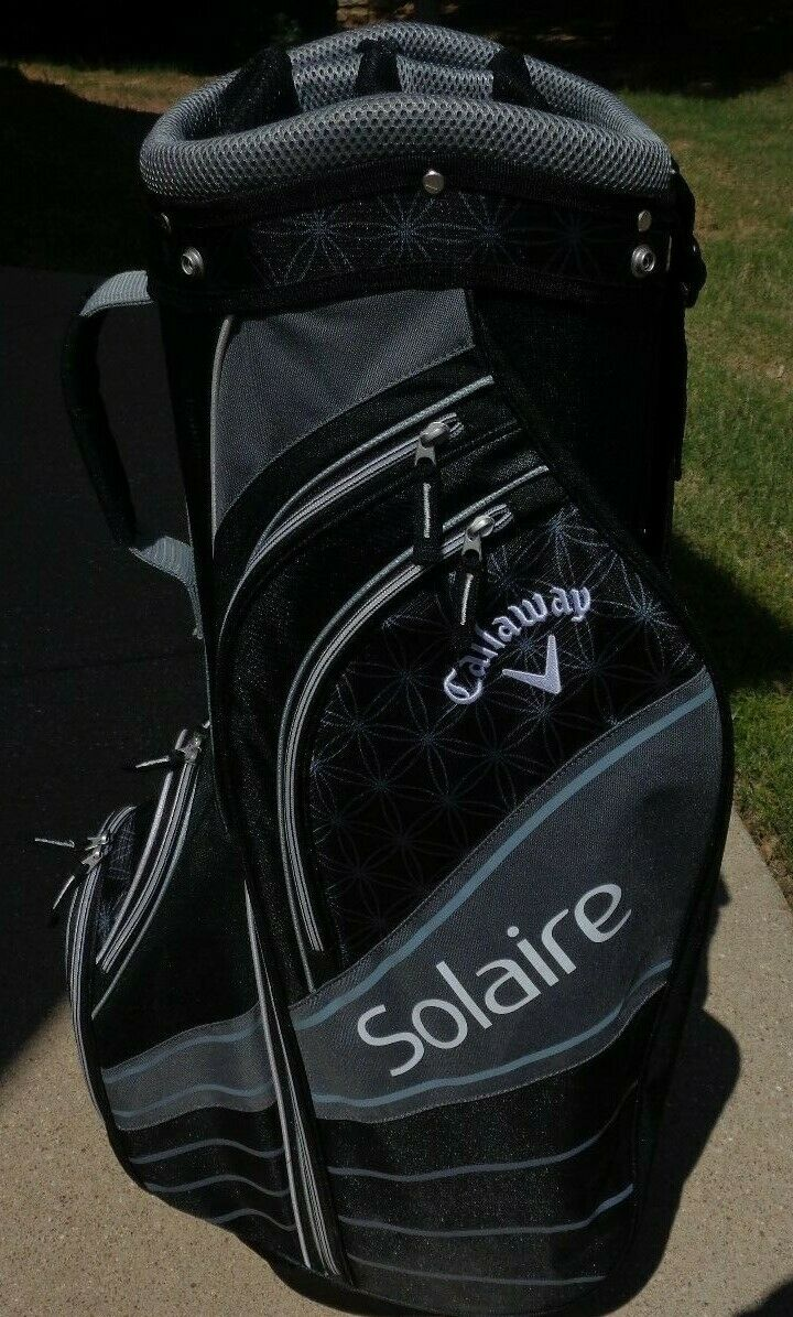 Ladies Callaway Solaire Golf Cart Bag Silver Black White W/R