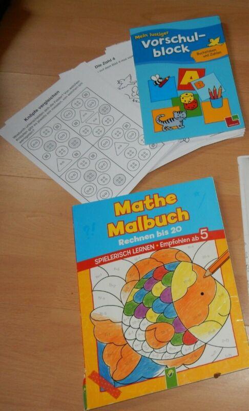 3 Stück - Vorschulblock - ABC Spiele, 1. Klasse - Mathe Malbuch, Rechnen bis 20
