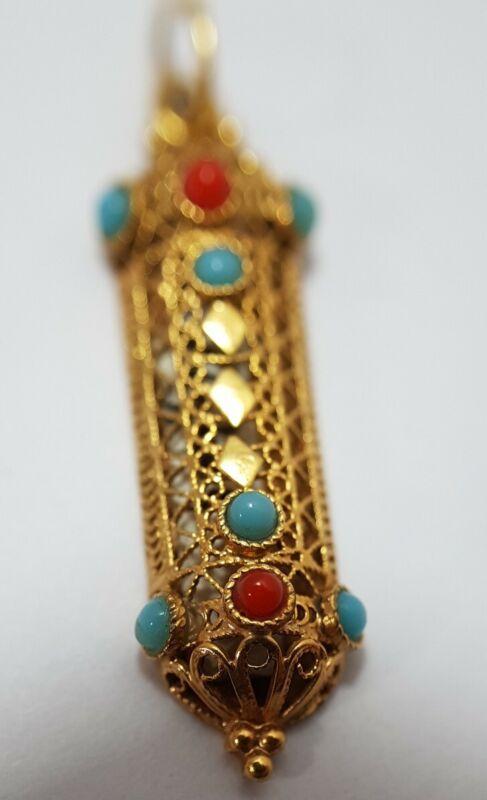 14K Yellow Gold Ornate Mezuzah Pendant with Shin