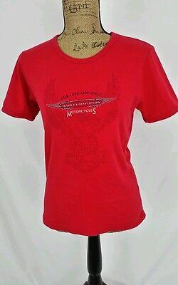 Womens Harley Davidson T Shirt Large Euc Red York Pennsylvania See Measurements