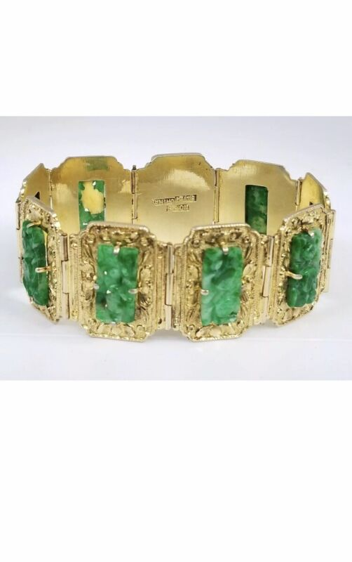Antique Chinese Green Jadeite Jade Carved Gold Gilt Silver Bracelet Qing Dy