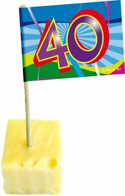 40. Geburtstag Party Picker -spieße mit Fahne Tisch Deko Dekoration Feier (40 Geburtstag Party Dekorationen)