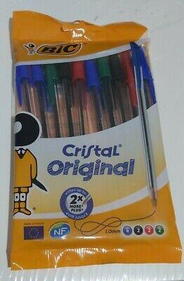 BIC Cristal Original 10 Paquete Bolígrafos 2x Más Escritura Rápido Correo